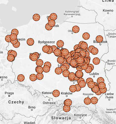 Mapa polski z oznaczonymi realizacjami instalacji fotowoltaiki